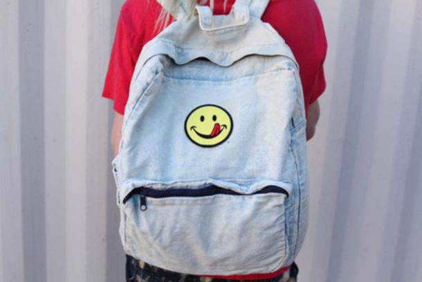 bag backpack school bag happy face acid wash