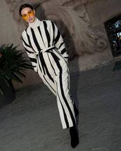 coat,wool coat,stripes,black and white,black boots,heel boots,white turtleneck top