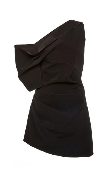 Acler Juniper One-Shoulder Crepe Mini Dress Size: 2 in black