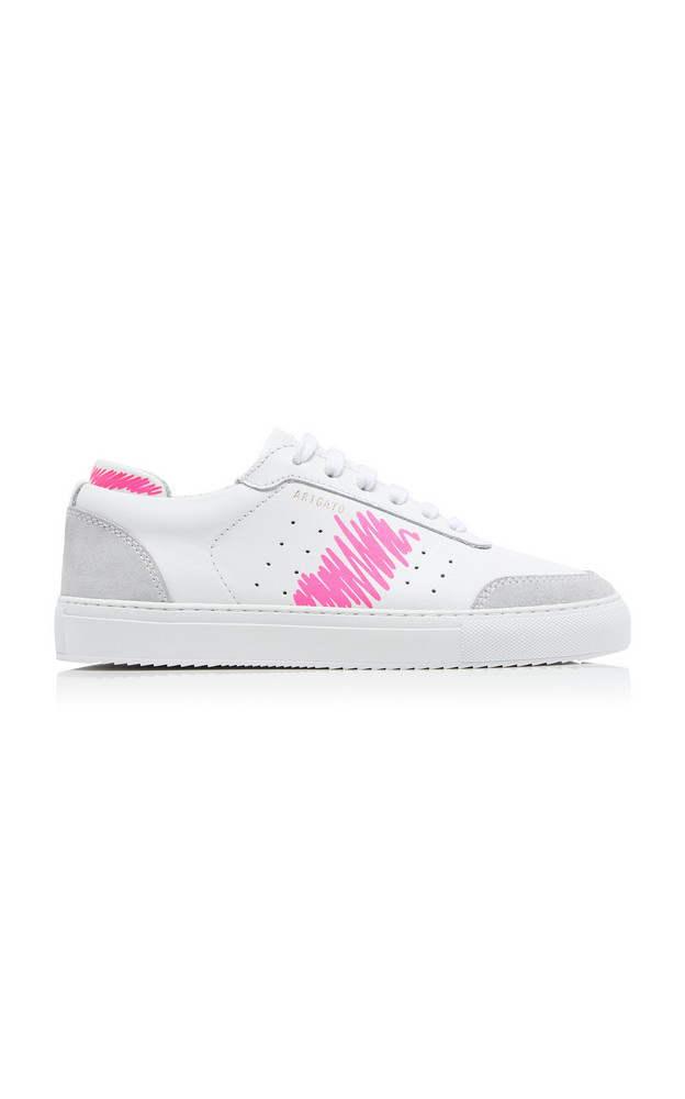 Axel Arigato Dunk Scribble Suede-Trimmed Leather Sneakers in pink