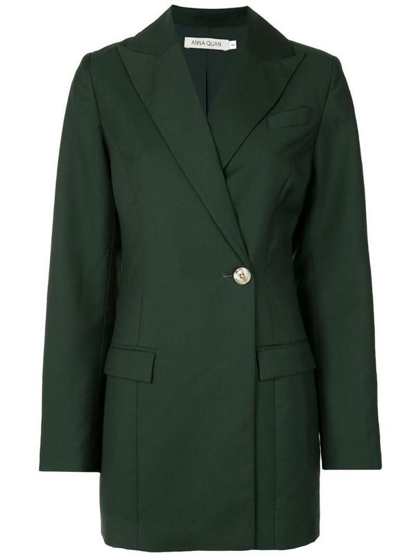 Anna Quan off-centre button blazer in green