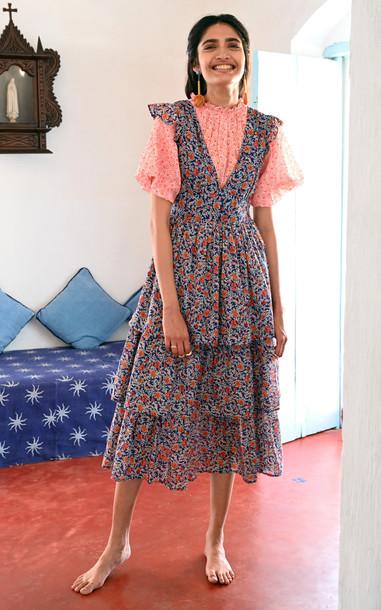 Banjanan Sierra Floral Cotton Dress in blue