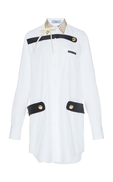 Prada Embellished Cotton-Poplin Shirt Dress in white
