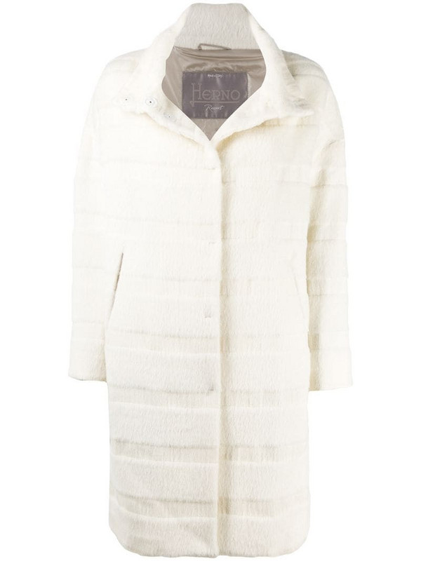 Herno stripe-pattern single-breasted coat in white