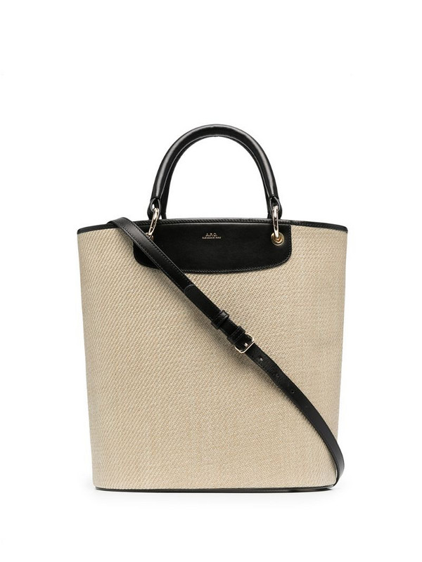 A.P.C. engraved-logo contrast tote in neutrals