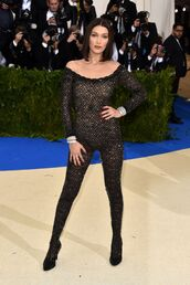 jumpsuit,black,tight,long sleeves,off the shoulder,tight legged,wang,catsuit with feet,jumpsuit with feet,open neckline,sheer,transparent,see through dress,alexander wang,bella hadid,met gala,one piece,red carpet,beaded