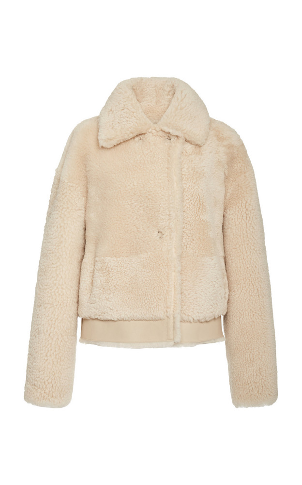 Common Leisure Iris Shearling Aviator Jacket in ivory