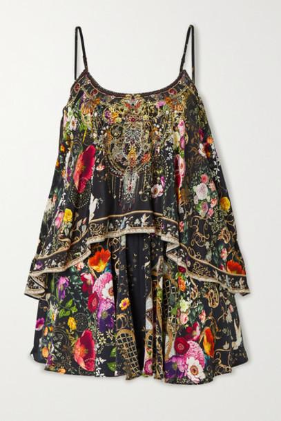 Camilla - Layered Crystal-embellished Printed Silk Crepe De Chine Playsuit - Black