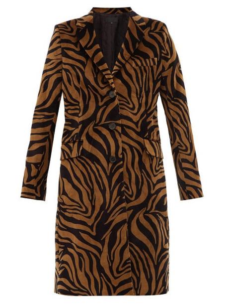 Nili Lotan - Rosalin Tiger Print Cotton Velour Coat - Womens - Black Brown