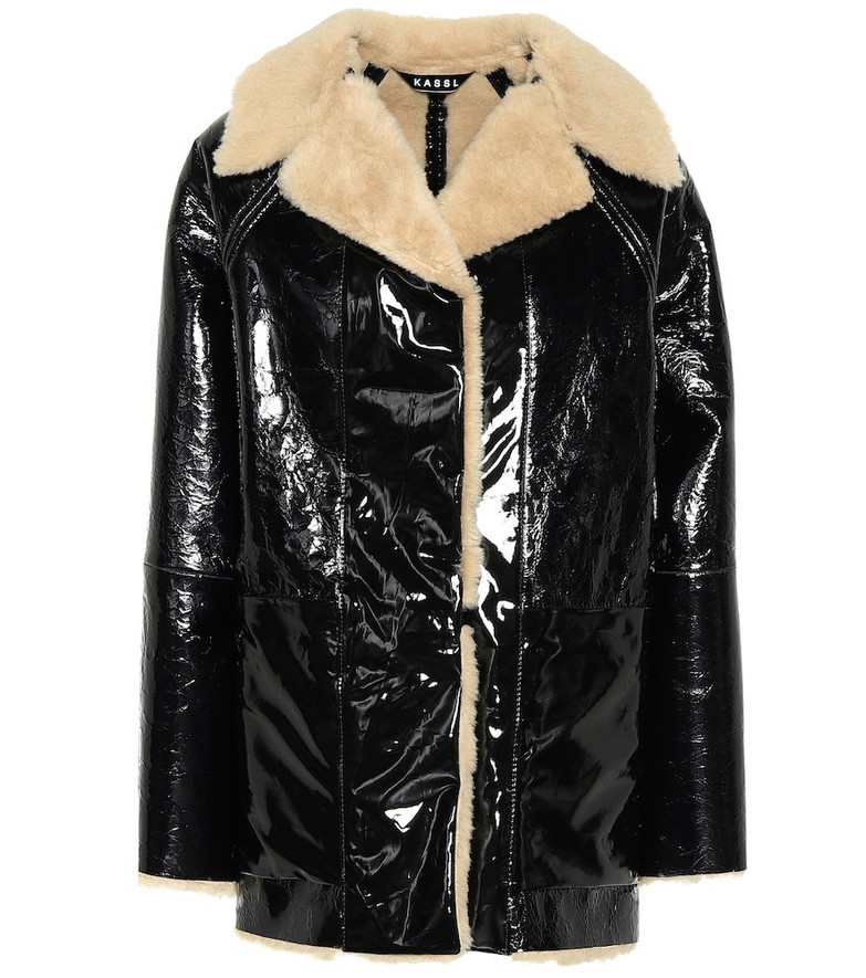 KASSL Editions Vinyl and shearling coat in black