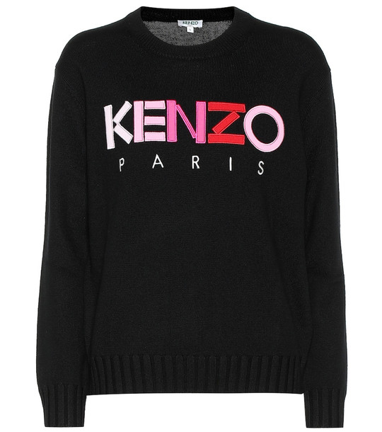 Kenzo Embroidered wool sweater in black