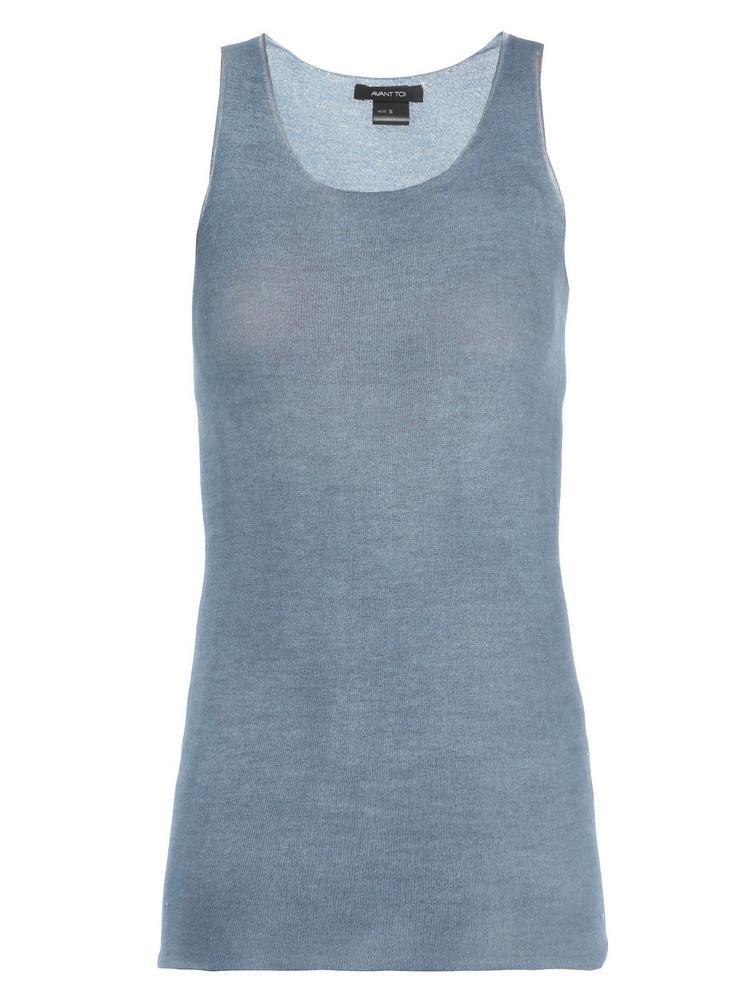 Avant Toi Cashmere And Silk Top in denim / denim