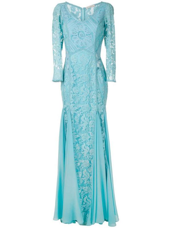Martha Medeiros Vivian lace gown in blue