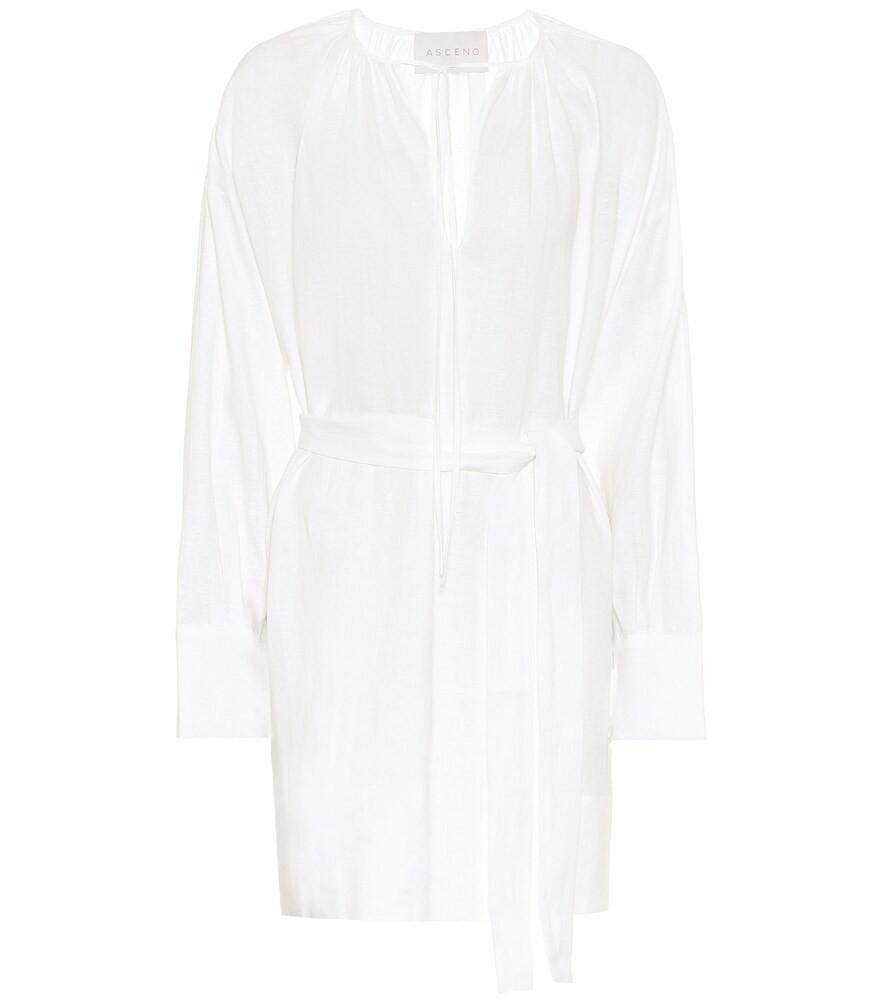 Asceno Santorini linen minidress in white