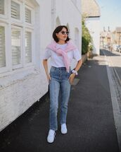 jeans,straight jeans,white sneakers,white t-shirt,sweater