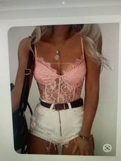 tank top,bodysuit,lace lingerie,lightpink