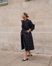 shoes,tartan coat,coat,mules,black shoes,black coat