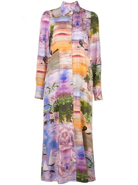 Cynthia Rowley Reeve maxi shirt dress in purple