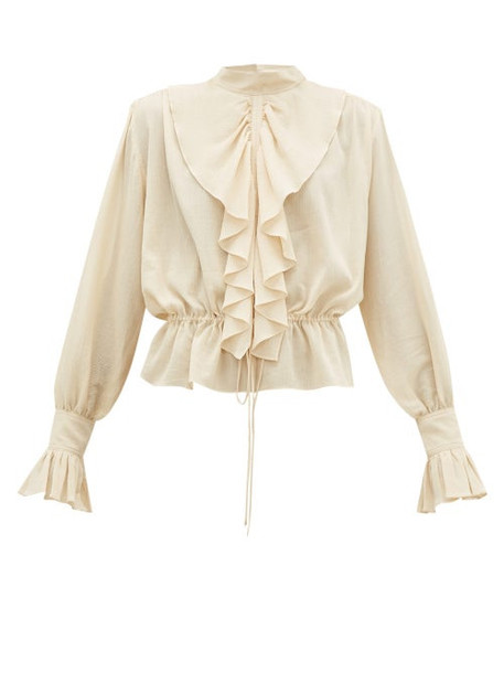 Jw Anderson - Ruffled Funnel Neck Cotton Crepe Blouse - Womens - Cream