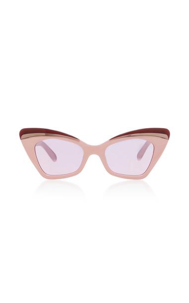 Karen Walker Babou Blush Cat-Eye Acetate and Metal Sunglasses in pink