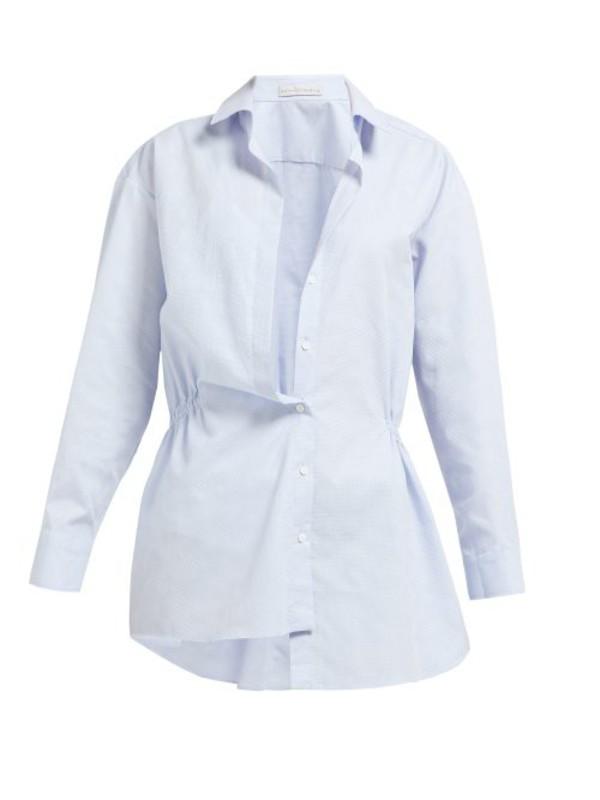 Palmer/harding Palmer//harding - Mask Asymmetric Cotton Piqué Shirt - Womens - Light Blue