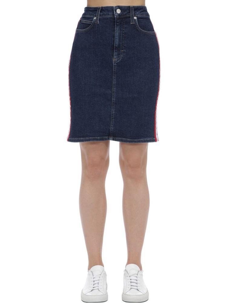 CALVIN KLEIN JEANS High Rise Logo Cotton Denim Mini Skirt in blue