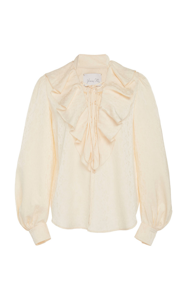 Johanna Ortiz Illumination Ruffled Jacquard Blouse Size: 10 in white