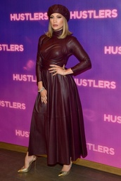 dress,burgundy,burgundy dress,leather,leather dress,jennifer lopez,celebrity