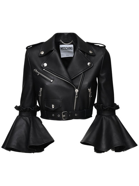 MOSCHINO Cropped Leather Biker Jacket in black