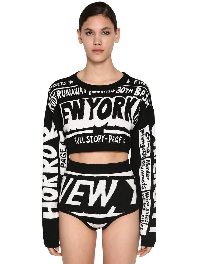 JEREMY SCOTT Cropped Virgin Wool Knit Sweater in black / white