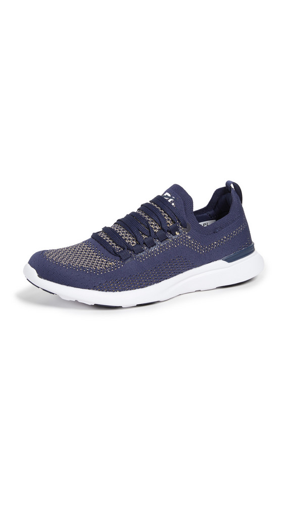 APL: Athletic Propulsion Labs TechLoom Breeze Sneakers in navy / gold / metallic / white