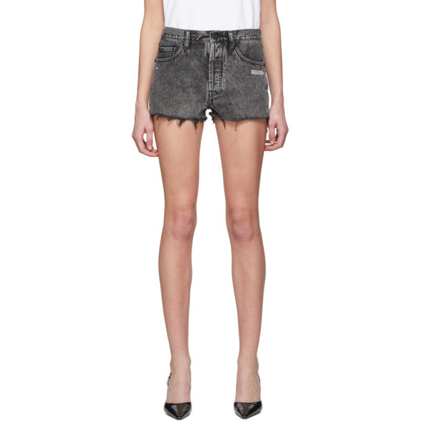 Off-White Grey Bleached Denim Shorts