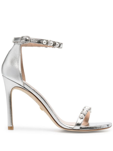 Stuart Weitzman metallic-tone heeled sandals in silver