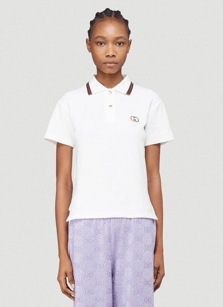 Gucci GG Logo Polo Shirt in White size S