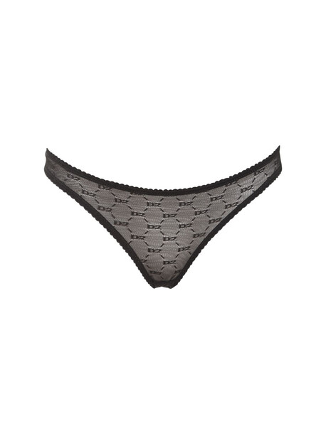 DSQUARED2 Logo Sheer Lace Briefs in black