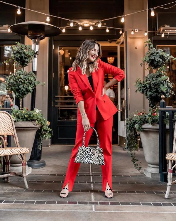 pants red pants slit blazer sandal heels bag black top