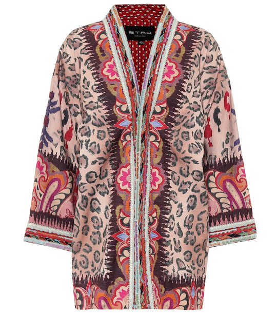 Etro Printed silk-blend jacket in pink