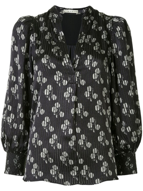 Alice+Olivia floral print blouse in black