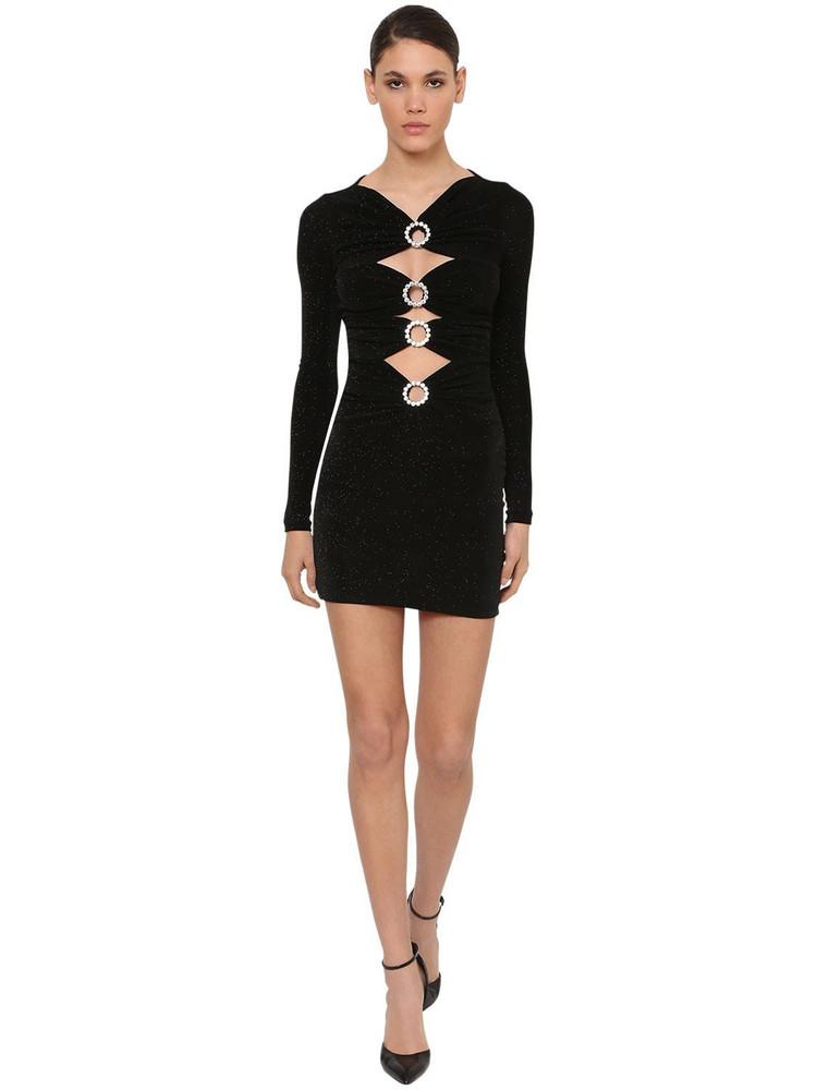 AZZARO Velvet Mini Dress W/ Crystal Detail in black
