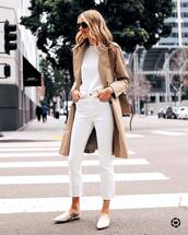 sweater,white sweater,white jeans,trench coat,mules,shoulder bag