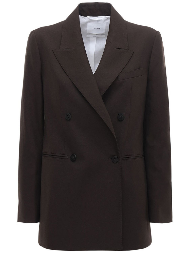 CASASOLA Wool Double Breast Blazer in brown