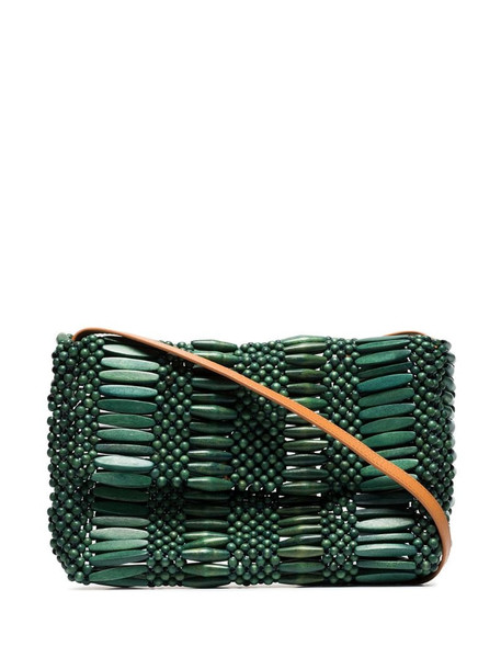Aranaz beaded wood shoulder bag in green