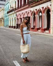 pants,white pants,wide-leg pants,white top,handbag,flat sandals