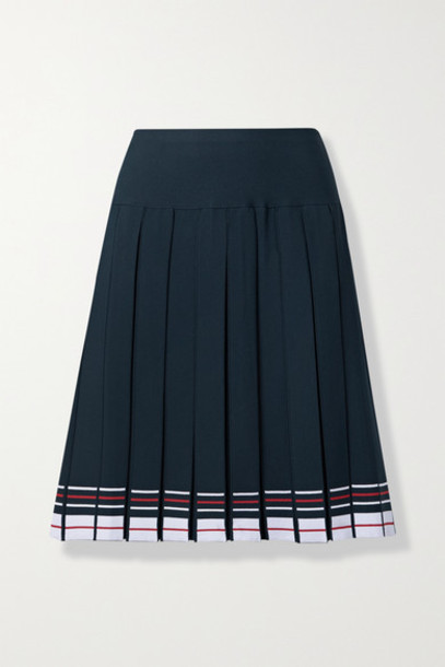 Thom Browne - Pleated Striped Stretch-knit Skirt - Navy