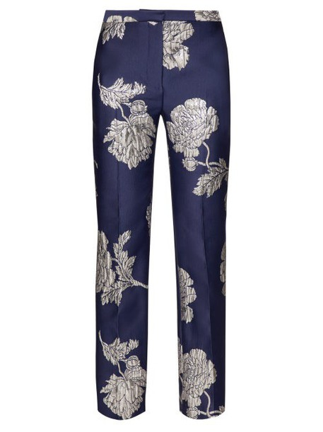 Alexander Mcqueen - Floral Jacquard Satin Straight Leg Trousers - Womens - Navy Multi