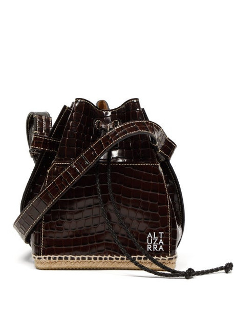Altuzarra - Espadrille Crocodille Effect Leather Bucket Bag - Womens - Black Multi
