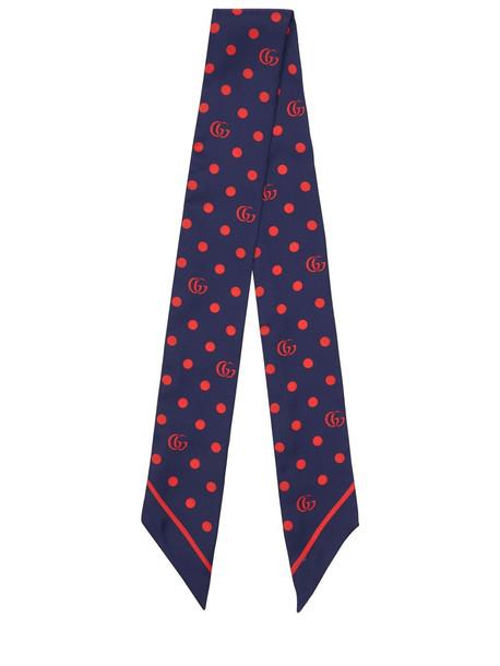 GUCCI Silk Twill Mini Gg & Polka Dots Scarf in blue / red