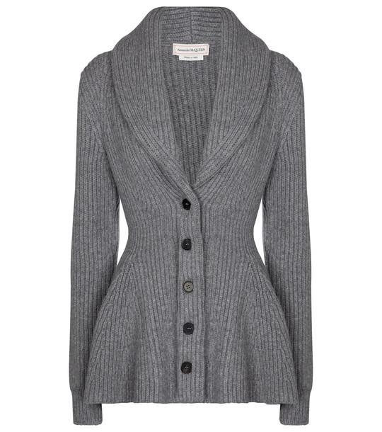 Alexander McQueen Ribbed-knit wool peplum cardigan in grey
