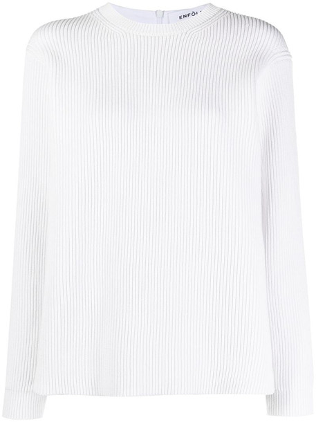 Enföld ribbed front panelled sweatshirt in white