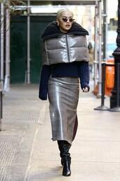 jacket,black,rita ora,plaid,celebrity,winter outfits,streetstyle,midi skirt